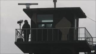 A South Korean marine stands guard on Yeonpyeong island