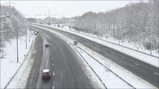 Snow-hit road