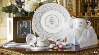 Royal Collection's range of china to commemorate the forthcoming wedding of Prince William of Wales and Catherine Middleton
