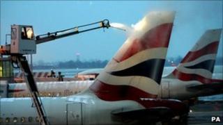 BA jet being de-iced