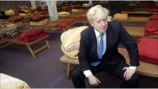 Mayor of London Boris Johnson visits a specialist centre for rough sleepers run by the homelessness charity, Crisis, in