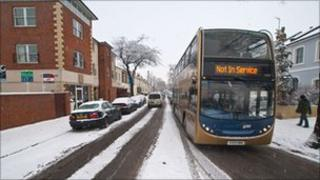 A bus in Cheltenham displays its 'Not in Service' sign. Taken by Charles Budd.