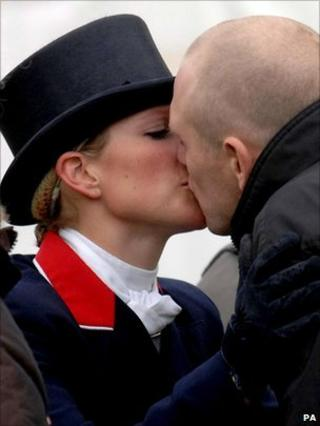 Zara Philips kisses Mike Tindall in May 2007