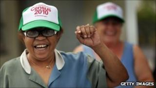 Women wear census caps