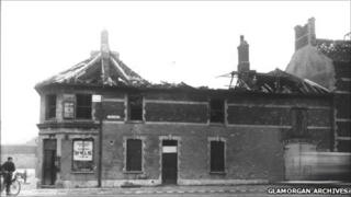 Bomb damage in Clive Street, Grangetown after the raid