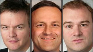 From left: Michael Moore, Steve Webb and Ed Davey