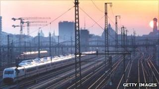 Sunrise over railway lines outside Munich station