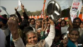 Protesters in Delhi on 22 December 2010