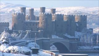 Conwy Castle in snow