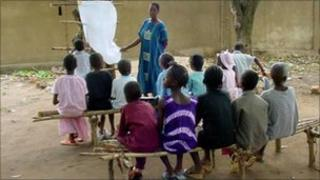 Children attending a class in Africa