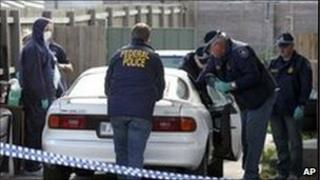 Australian police search car in Melbourne suburb (file image from August 2009)