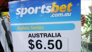 Board showing Sportsbet.com odds on the Ashes