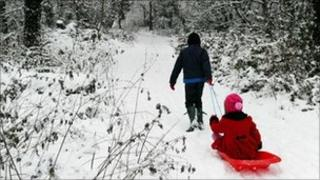 A boy pulling a girl on a sledge