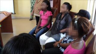 Victims of sex trafficking getting counselling, Nigeria, 2010