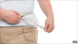 women measuring her waist