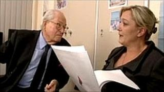 Front National leader Jean-Marie Le Pen (left) and his daughter Marine Le Pen (right), France, 2010