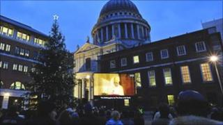 Carol service on giant screen outside St Paul's Cathedral