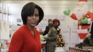 Michelle Obama at Christmas event in Washington, 17 Dec