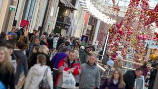 Shoppers in St David's Centre
