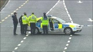 Police officers at the scene of the crash (Picture RTE)