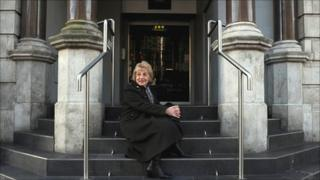 Pat Fitzgerald on the steps of the Royal Hotel, where she was found in 1939