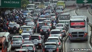 Morning traffic in Jakarta, 22 September 2010