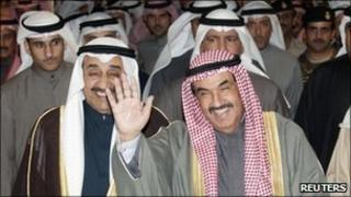 "Kuwait""s Prime Minister Sheikh Nasser al-Mohammad al-Sabah waves as he leaves the parliament building in Kuwait December 28, 2010"