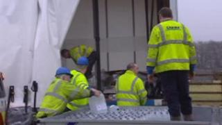 Bottled water being unloaded in Carmarthenshire