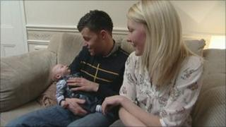 Baby Harvey Flanagan with his parents Andrew Flanagan and Michelle Dyer