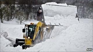 Bulldozing snow on Bornholm, 25 Dec 10