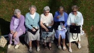 Five elderly ladies in Windsor