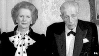 Margaret Thatcher and Harold Macmillan