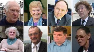 Clockwise from top left Peter Walker, Morwen Pugh, Keith Dunn, Professor Julian Hopkin, Maria Evans, Kevin Fitzpatrick, Gareth Vaughan and Jane Colclough
