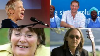 From top left clockwise: Annie Lennox, Magnus MacFarlane-Barrow, Dougie Maclean and Anne Begg MP