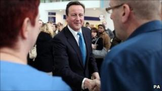 David Cameron meeting staff at the Royal Centre for Defence Medicine in Birmingham