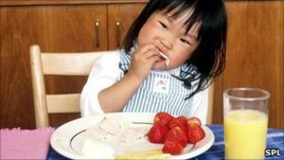 A child eating a healthy lunch