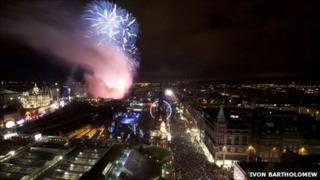 Fireworks over Edinburgh's Princes Street