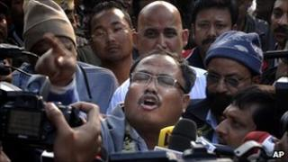 Assamese separatist leader Arabinda Rajkhowa on his release from jail (1 January 2011)