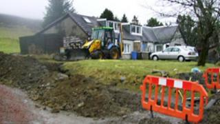 work being carried out in Leadhills village