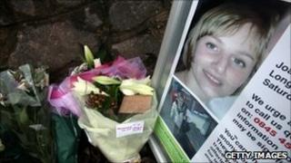 Flowers left at the site where Jo Yeates's body was found