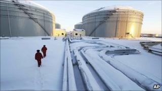 Storage tanks on the Russia-China oil pipeline in Mohe, north-eastern China, 1 January 2011