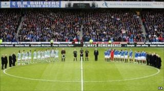 players fall silent for Ibrox disaster dead