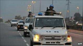 UN peacekeepers in Abidjan, 31 December 2011