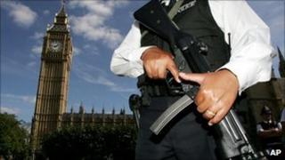 Armed police officer at Houses of Parliament