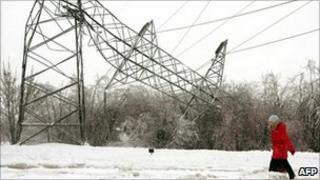 An electricity pylon damaged by severe weather