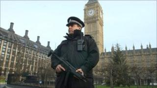 Armed officer outside parliament
