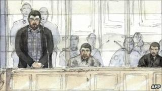 Artist's drawing of (from left) Ouassini Cherifi, Hichem EzziKouri and Mourad Ferhidi in court in Paris (3 January 2011)