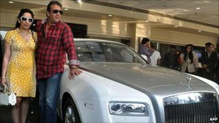 Bollywood actor Sanjay Dutt buys a Rolls Royce Ghost model car to his wife Manyata Dutt on 29 November, 2010