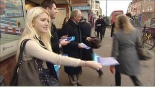 Labour supporters and Ken Livingstone leaflet people