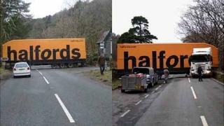 Lorry stuck at at Beddgelert